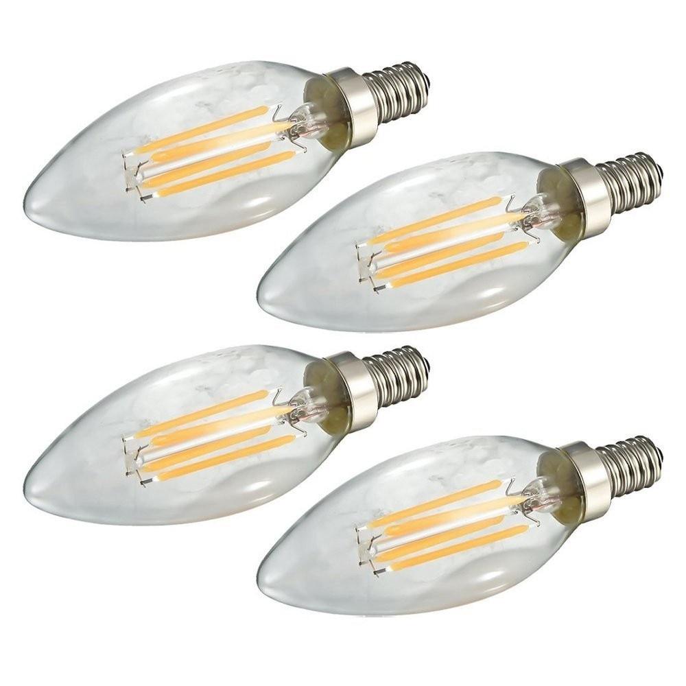 4Pcs/Lot LED E12 E14 Filament Bulb 2W 4W 6W LED Candelabra Light Filament Candle Bulb 110V 220v Indoor LED Torpedo Shape Lamp