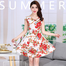 Br Summer womens pile of collar ice silk floral woman milk short-sleeved dress big swing Plus Size S-4XL