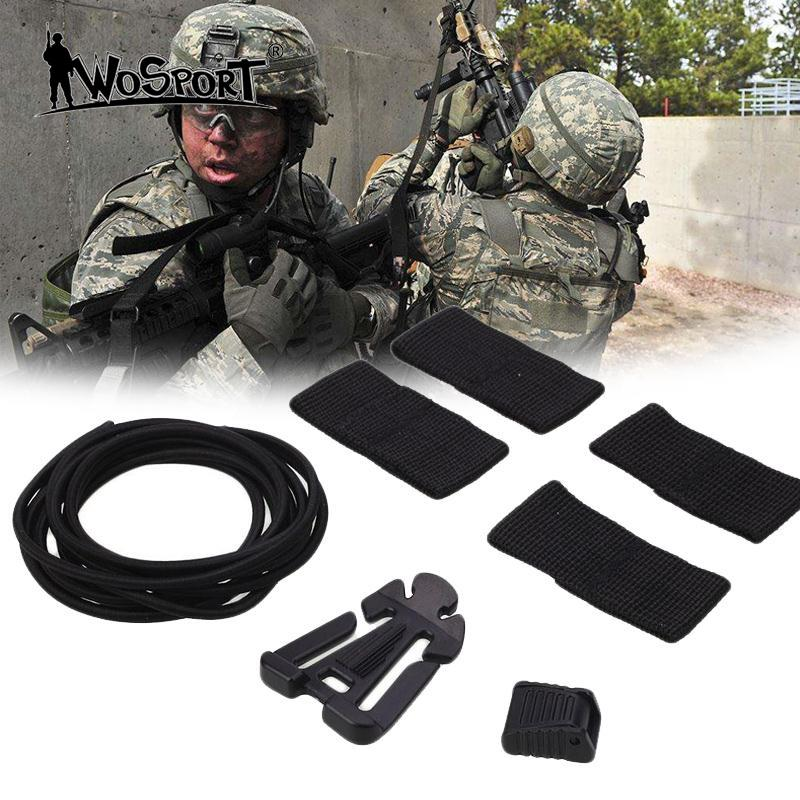 WoSporT Tactical Helmet DIY Deck Set Modified Rubber Elastic Set Kits Tactical Upgrading Helm Helmet Nylon Rope