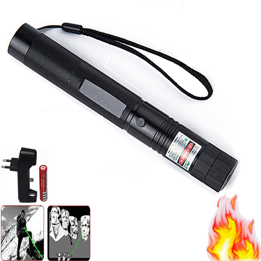 Green Laser Sight CNC Lasers Pointer Powerful device 10000m Adjustable Focus Lazer with Star Cap Charger 18650 Battery