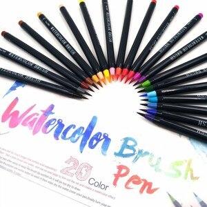 Image 3 - Novo 20 cores premium pintura caneta escova macia definir marcadores de aquarela caneta efeito melhor para colorir livros manga caligrafia comic