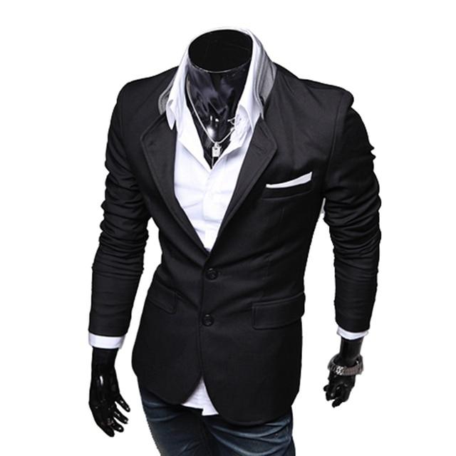 FS Hot New Stylish Men's Casual Slim Fit Two Button Suit Blazer Coat Leisure Jacket Tops 3 Colors US size XS-L