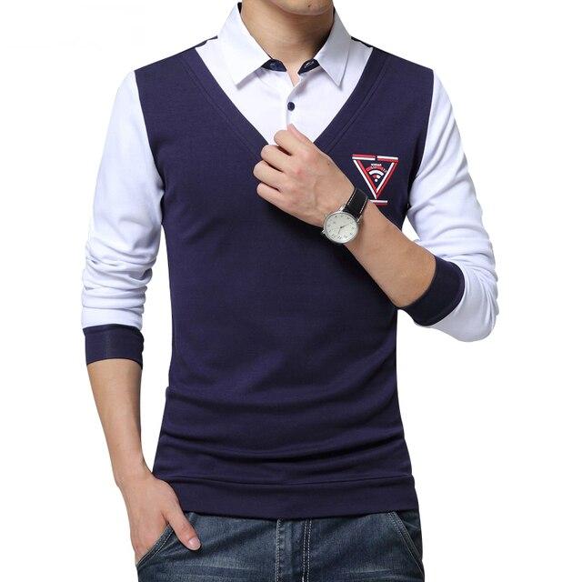 2016 Autumn Men's Shirt Fashion Unique Design Shirt Collar Pathwork Long Sleeve Shirt Men Slim Fit Pullover Office Shirt Men 5XL