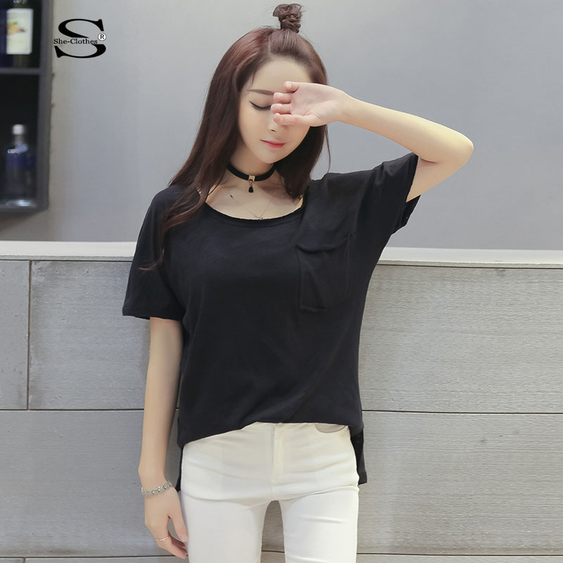 Asymmetric Summer 2016 Women 39 S T Shirt Korean Fashion Clothing Loose Style Round Neck Big Pocket