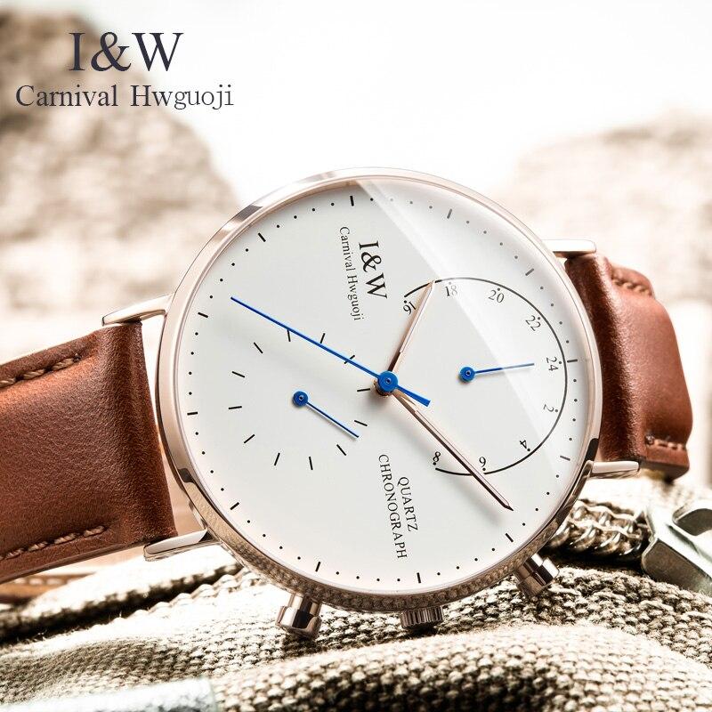 2017 CARNAVAL I & W Ultradunne 6mm Dual Time Quartz Mannen Horloge Topmerk Luxe Saffierglas Simple Mode Waterdicht Montre-in Quartz Horloges van Horloges op  Groep 1