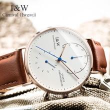 2017 CARNIVAL I & W Ультратонкие кварцевые мужские часы 6 мм с двойным временем, топовые роскошные часы с сапфировым кристаллом, простые модные водонепроницаемые часы