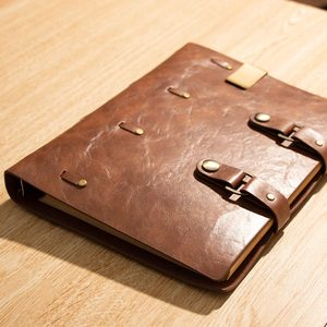 Image 3 - Classic Retro Notebook Leather Blank Diary Note Book Journal Sketchbook planner school office supply brown refillable pages