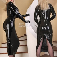 Латекс резиновая прямое платье пикантные Клубные Длинные платья Longuette черный цвет вечерней одежды вечерняя одежда