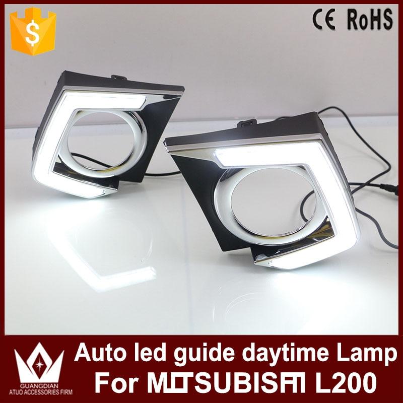 Tcart 2PCS High Quality Car LED Daytime Running Light White DRL Led Auto Guide Daytime Lamp For Mitsubishi Triton L200 2015 2016 насос рулевого управления с усилителем mr995024 для mitsubishi triton storm l200 4d56 kb4t