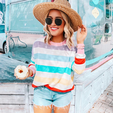 Rainbow Stripe T Shirt Spring Harajuku Female Shirt Long Sleeve Plus Size Tshirts Woman Korean Tops Feminine D20 все цены