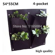 4ポケット垂直ガーデンプランター壁掛けポリエステルホーム園芸花植栽バッグ屋内壁Planter54 55センチ *