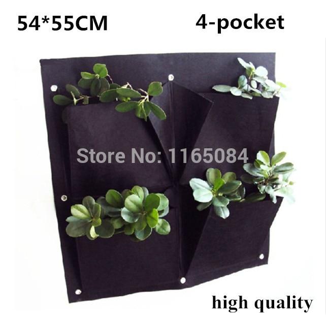4 τσέπες Κατακόρυφο φυτευτικό κήπου Επίτοιχο πολυεστέρας Αρχική κηπουρική Τσάντες φύτευσης λουλουδιών Ζωή εσωτερικού τοίχου Planter54 * 55cm