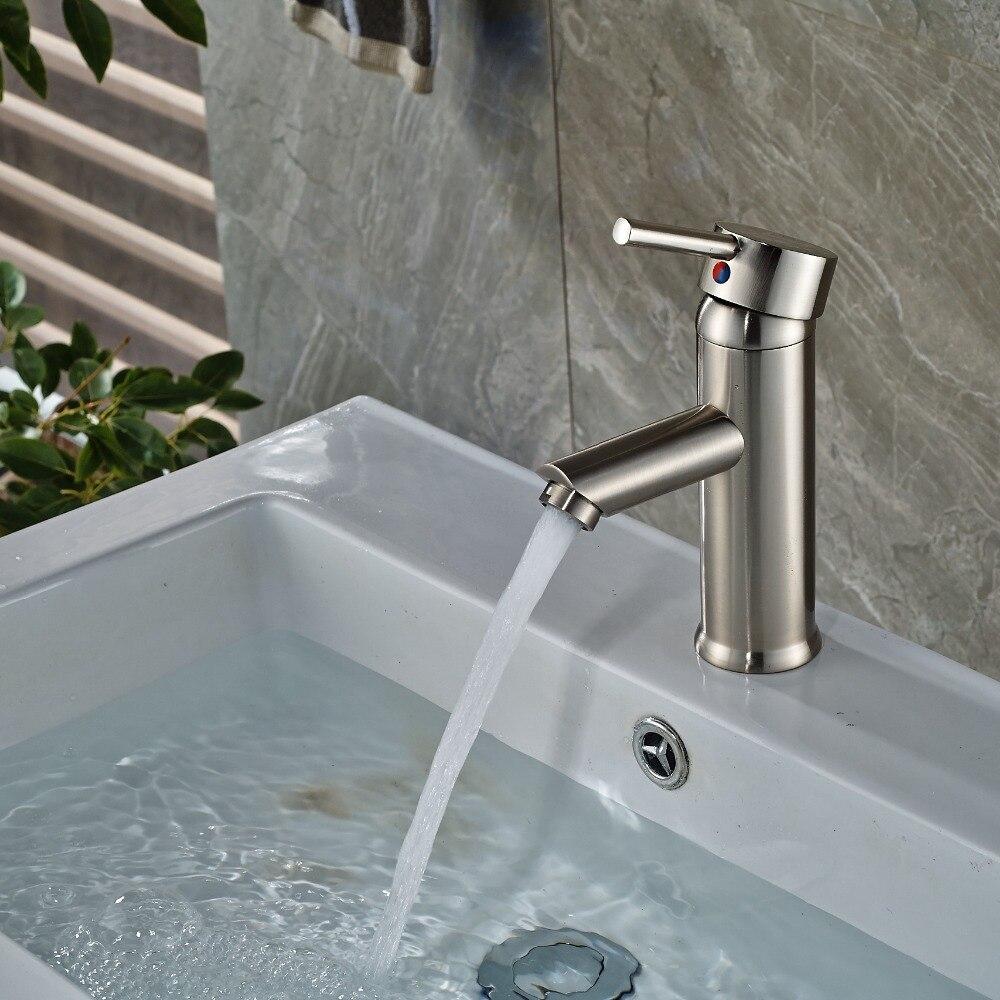 Nickel Brushed Bathroom Basin Faucet Deck Mounted Vanity Sink Mixer Tap