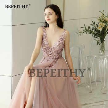 New Arrival 2019 V neck Pink Long Evening Dress Party Elegant Vestido De Festa Vintage Prom Gowns With Slit Abendkleider