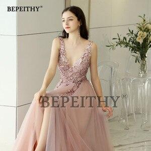 Image 5 - Женское винтажное вечернее платье, длинное розовое платье с V образным вырезом и разрезом, элегантное платье для выпускного вечера, 2020