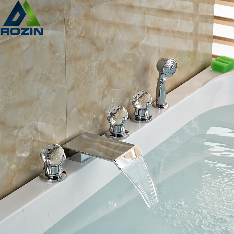 Deck Mount 5pcs Waterfall Bathroom Tub Mixer Faucet Widespread Bathtub Faucet Set With