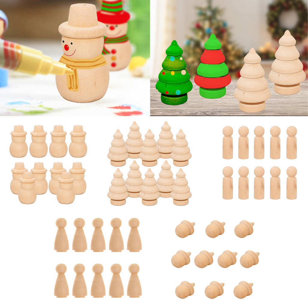 10x деревянные колышки для кукол желудь снеговик дерево незаконченная краска пятна поделки своими руками