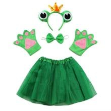 Костюм принцессы для косплея на Хэллоуин; костюм принцессы с лягушкой; повязка на голову; юбка-пачка; комплект с галстуком для детей; подарок на день рождения; реквизит