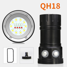 Diving Flashlight 18650 Torch Underwater Photography Light Video Lamp 10*5050 L2 White 4* Red 4* Blue LED Scuba Photo Fill light diving video d34vr 5000 lumen underwater flashlight 4xcree xml2 led white light linterna buceo video 26650 scuba dive torch lamp