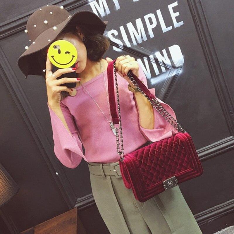 Plaid Chain Fashion Velvet women leather handbags day clutch women's shoulder bag gold metal chain crossbody Messenger bags цена