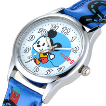 Disney бренда детские часы Микки Мальчики девочки кварцевые 30 м водонепроницаемый Мультфильм Аниме дети часы Кожа наручные часы