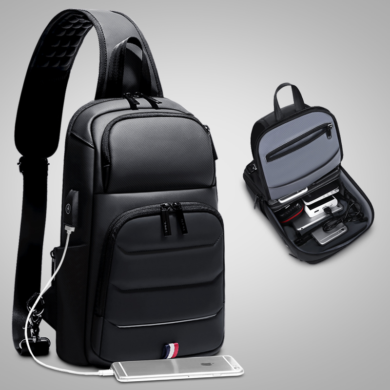 ROWE Crossbody Bags for Men Sling Bag with Usb Business Casual Messenger Chest Shoulder Bag Male Waterproof