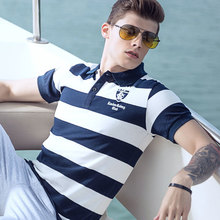 Hot Mens Polo Shirt Brands Slim Casual Men Striped Polo Shirts Brand Clothing Short Sleeve Cotton Contrast Color Polo masculino