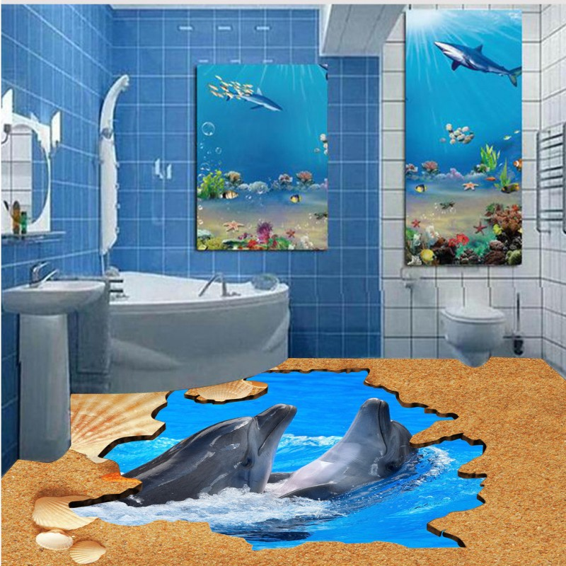 Free Shipping 3D Dolphin Beach Tile Floor Painting Waterproof Thickened  Bathroom Living Room Lobby Flooring Wallpaper