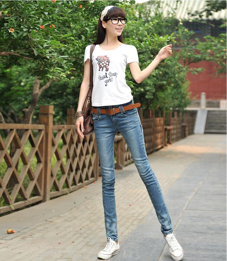 2018 spring Fashion casual female girls students cotton Stretch tight Frazzle pencil pants   jeans   clothing clothes
