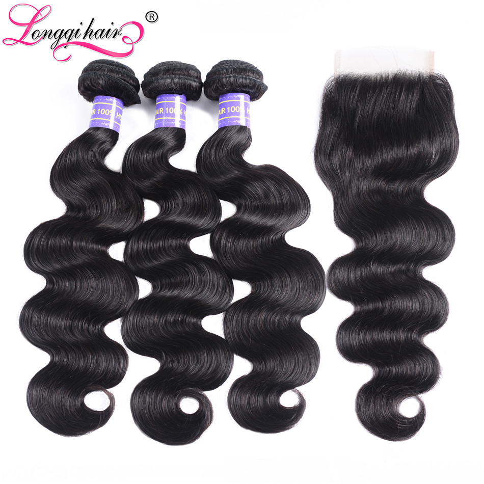 Longqi Body Wave Bundles with Closure Remy Human Hair Extension 3 Bundles Peruvian Hair Bundles with