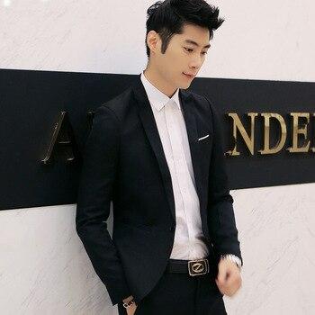 Men's business blazer slim fit cotton Suit long sleeves Jacket Male Dropshipping Pure color fashion top coat Work Wedding Wear