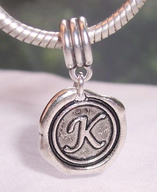 Hot 55pcs Ancient Silver Letter K Alphabet Initial Pendant Beads