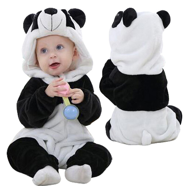 Newborn Baby Rompers Winter Flannel Stitch Panda Baby Boy Clothes Jumpsuit Costume Baby Girl Costume Animal Rompers
