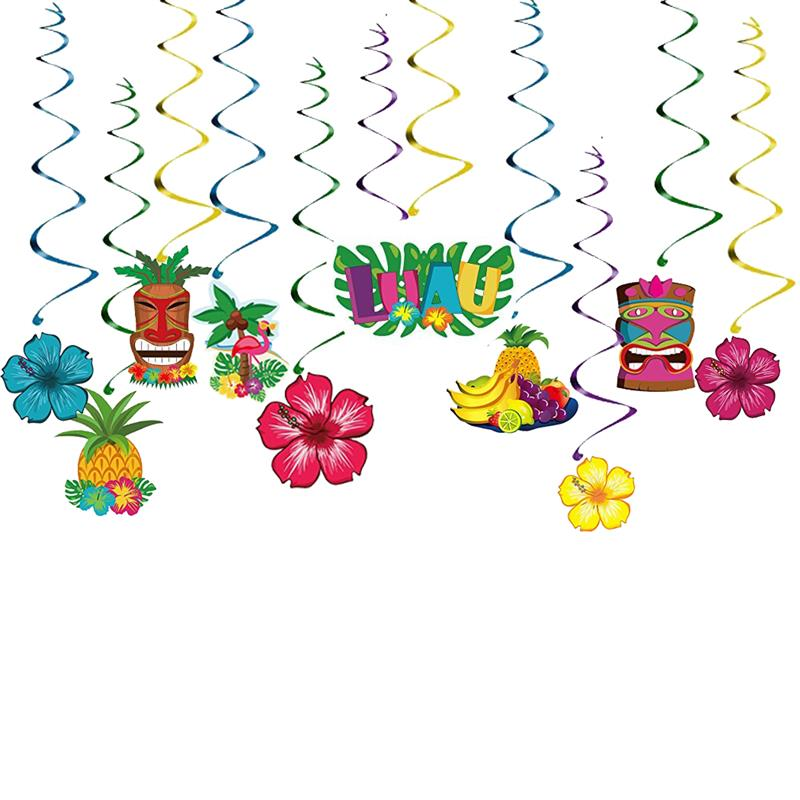 30PCS Luau Party Decorations Flowers Fruits Hanging Banners Swirl Hawaiian Party Supplies Birthday Party Beach BBQ DecorFavors