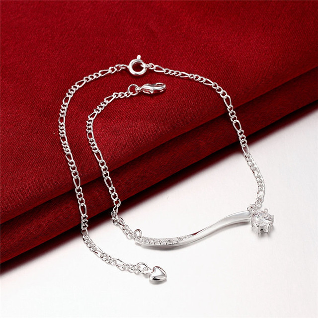 Silver Plated Anklet with Long Charm with Zircons