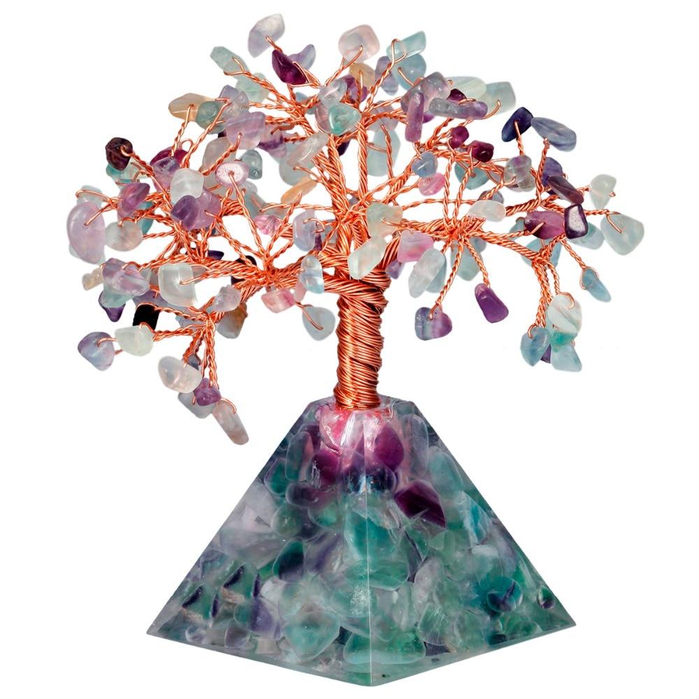 TUMBEELLUWA Natural Crystal Tree Pyramid Base Bonsai Money Tree for Wealth Luck Healing Reiki Home Decoration