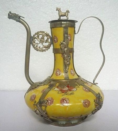 Exquisite Chinese Old Decorated Handwork Porcelain Inlaid with Tibetan Silver Dragon Phoenix Teapot