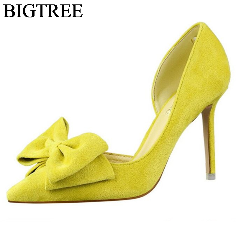 BIGTREE Elegant High-heeled Shoes Woman Suede Leather Party Shoes 9.5 CM Thin Heels With Bowtie Fashion Pointed Toe Women Pumps