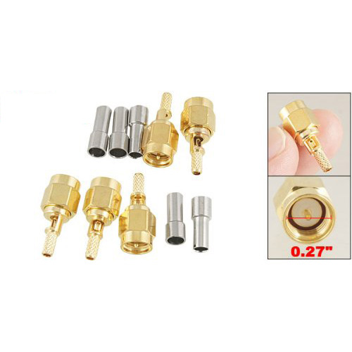 2015 Hot New 5 X SMA Male Straight Crimp RG174 RG188 RG316 LMR100 RF Coax Connector