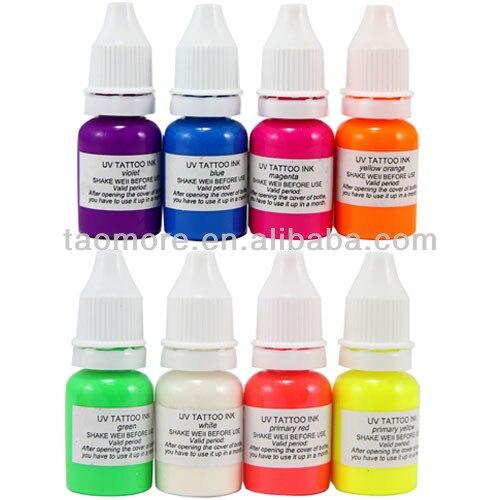8 colors WIZARD BLACKLIGHT UV Tattoo Ink pigment set 1/4oz(7.5ml ...