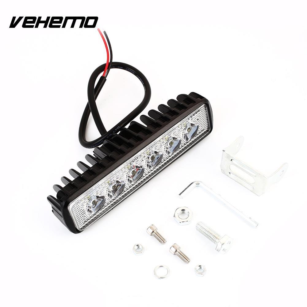 Vehemo 18W Wired Light Bar Truck Work Light LED Light Durable Super Bright Car 12V