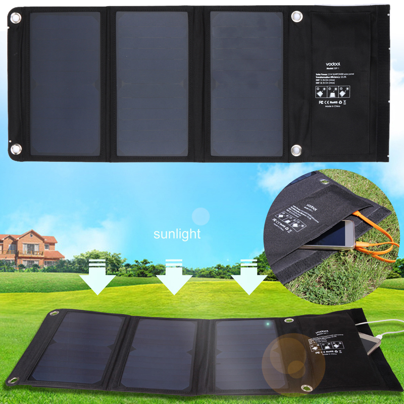 5V/2A 21W Solar Powered Outdoor Camping Hiking Pocket Charger 2 MIC Ports Solar Charger with Cellphone Phone Bag