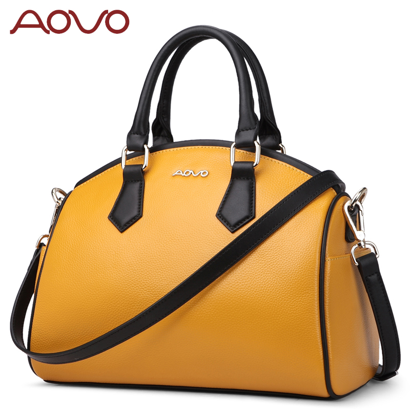 AOVO Famous Brand Designer 100% Genuine Leather Women Handbags Fashion Shoulder Crossbody Bags REAL Cow Leather A4 Shell Bag 2018 fashion cow leather women shoulder bags tassel lady handbags genuine leather woman crossbody bag
