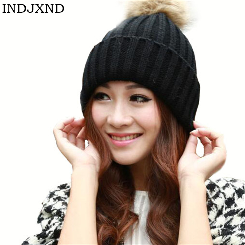 INDJXND 2019 Winter Wool Knit Women   Beanie   Hat Hairball Thick Casual Pure Color   Skullies   Pink Keep Warm   Beanies   Accessories Caps