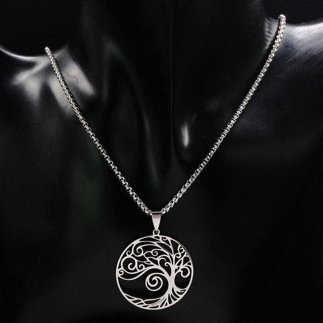 2018 di Modo di Albero della Vita In Acciaio Inox Grande Collana per Le Donne di Colore Argento Collana di Dichiarazione Gioielli bisuteria N18064