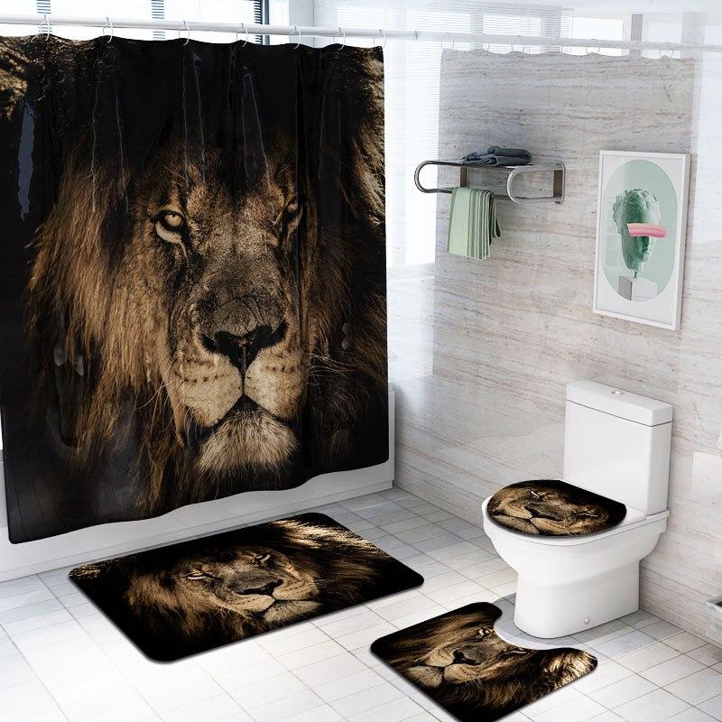 Toilet Rug+Lid Toilet Cover+Bath Mat 4Pcs//Set Peacock Bathroom Shower Curtain