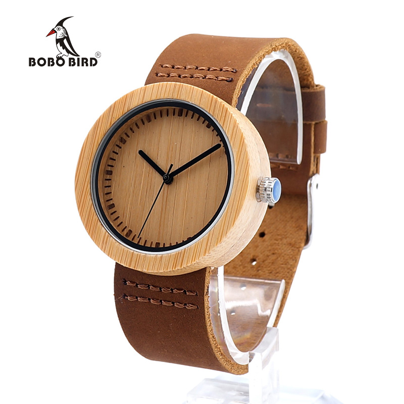 BOBO BIRD D18-2 Women Top Brand Luxury Analog Casual Quartz Watch With Genunie Leather Strap Women dress Wristwatch With Box