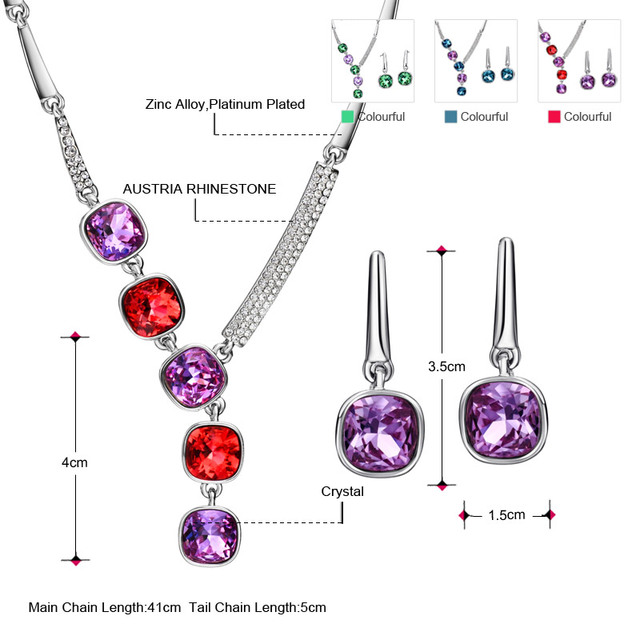 Neoglory MADE WITH SWAROVSKI ELEMENTS Brand Indian Jewelry Sets Necklace Earrings Luxurious Birthday Gifts 2017 New Hot JS9 EX1
