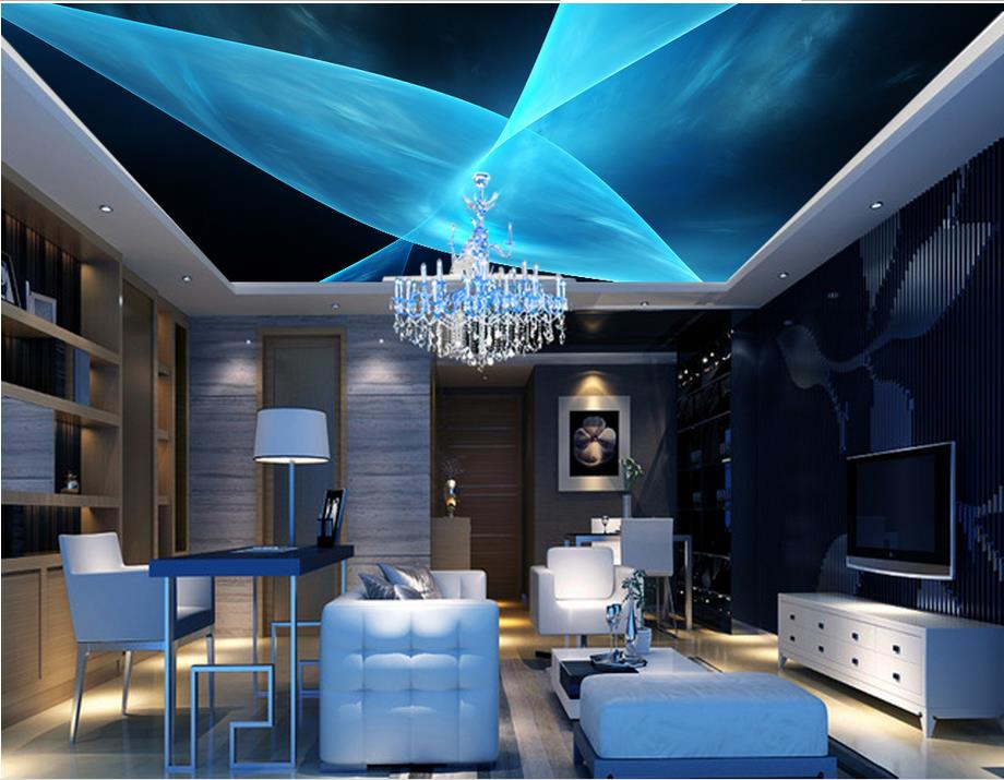 3d wallpaper mural ceiling customize Blue dynamic lines abstract fashion ceiling frescoes non-woven 3d photo wallpaper ceiling non woven wallpapr home decoration wallpapers for living room 3d mural wallpaper ceiling customize size