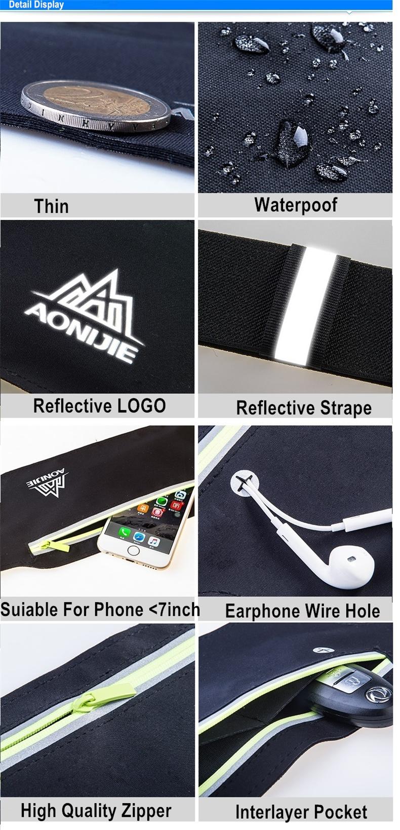 AONIJIE Runnning Waist Bag Men Women Sport Waist Pack Jogging Gym Fitness Running Belt Bag Phone Holder Sport Accessories 12